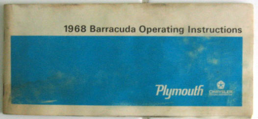 1968  68    PLYMOUTH  BARRACUDA  OWNER/'S MANUAL